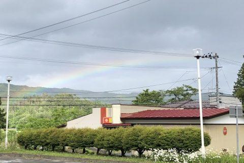 交流センターから虹が見えました