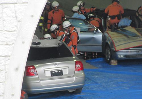 梁川口内トンネル防災訓練